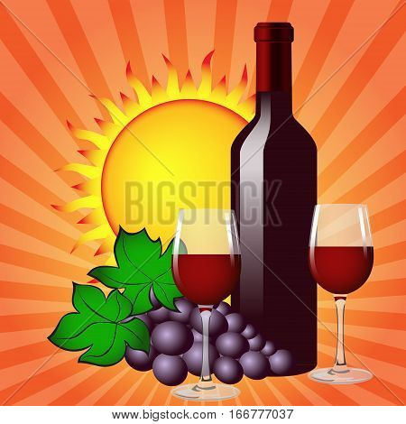 Still life with wine bottle, two glasses, grapes and sun. Vector image.