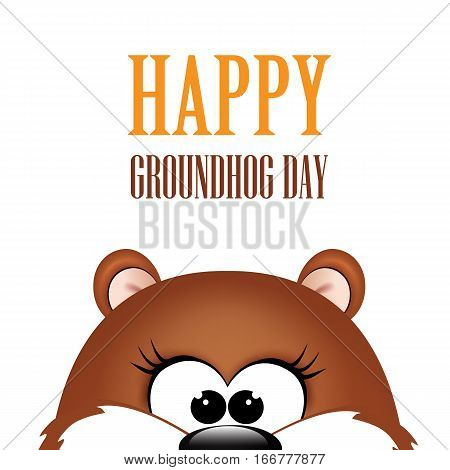 Groundhog day. Marmot on white background. Vector illustration