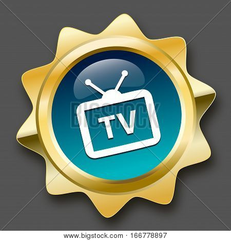 Tv reception seal or icon with tv symbol. Glossy golden seal or button with turquoise color.