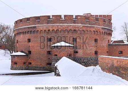 Tower of Der Dona now museum of Amber. Part of the german defensive fortifications in the Konigsberg. After Second World War Konigsberg was called Kaliningrad and became part of Russia.