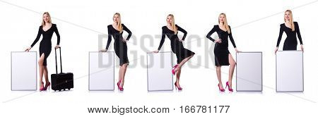 Young girl in black dress with poster and valise isolated on whi