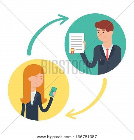 Business deal, conclusion of a contract vector illustration