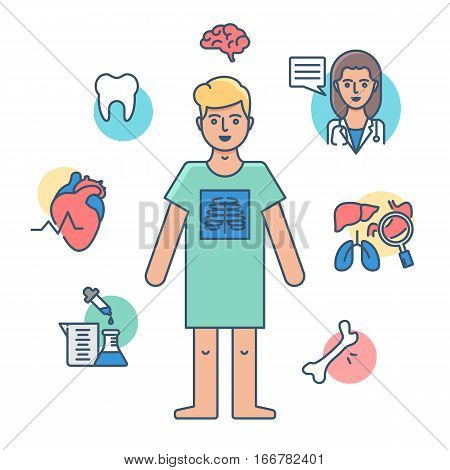 Medical check-up, medical examination vector illustration modern style