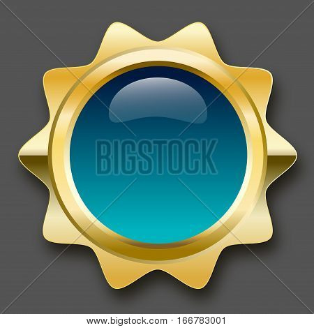 Blank seal or icon with copy space. Glossy golden seal or button with turquoise color.