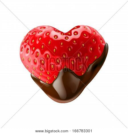 Strawberry in Chocolate Dipping on White Background Isolated