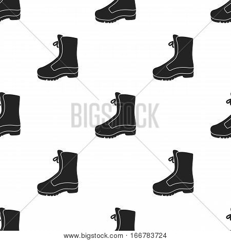 Combat boot icon in black style isolated on white background. Hunting pattern vector illustration.