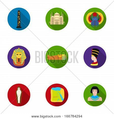 Ancient Egypt set icons in flat style. Big collection of ancient Egypt vector symbol stock