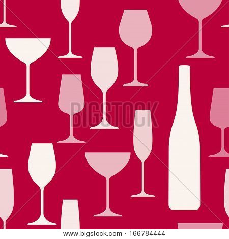 Wine glasses and bottle background pattern. Will tile endlessly.