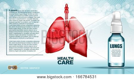 Digital vector red lungs structure infographics of breaving healthcare mockup and medicine container, with your brand, ready for print ads or magazine design. Blue and shine, realistic 3d style