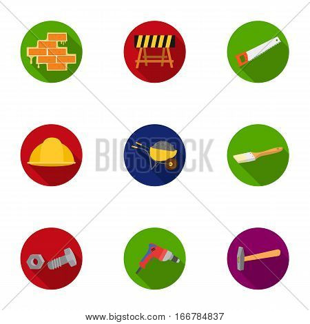 Build and repair set icons in flat design. Big collection of build and repair vector symbol stock illustration