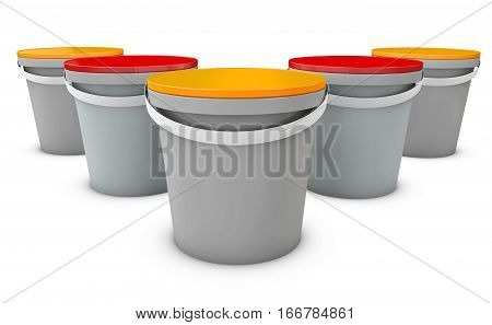 3d Illustration of plastic buckets. Product Packaging For food, foodstuff or paints