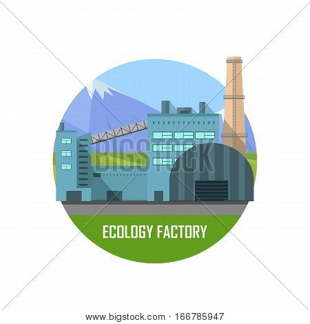 Ecology factory. Green manufacturing and producing. Eco plant icon in flat style. Environmentally friendly factory. Retailer of organic natural healthy products. Modern building of the factory. Vector