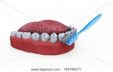 Teeth brace with toothbrush 3d render projections denture cartoon. isolated on white background.Easy editable for your medicine.