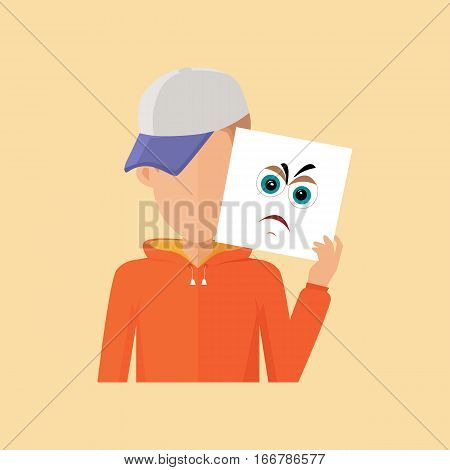 Boy avatar icon. Boy in baseball cap and orange sweater with a sheet of paper. Sheet of paper with anger emotional anger smile. People with expression of emotions. Isolated vector illustration