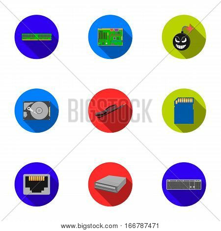 Personal computer set icons in flat style. Big collection of personal computer vector symbol stock