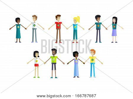 Smiling peoples with branch and leaves emblem on clothes, standing and holding hands. Ecologist, environmentalist, nature protection activist or volunteer illustration. Flat design. Earth day.