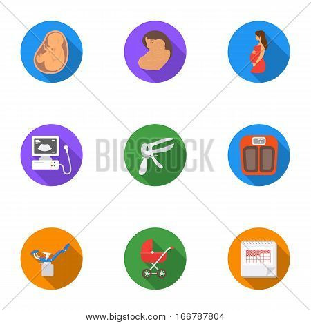 Pregnancy set icons in flat style. Big collection of pregnancy vector symbol stock