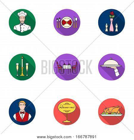 Restaurant set icons in flat design. Big collection of restaurant vector symbol stock illustration