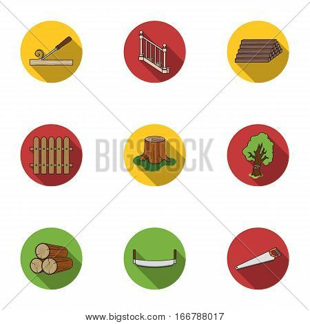 Sawmil and timber set icons in flat style. Big collection of sawmill and timber vector symbol stock