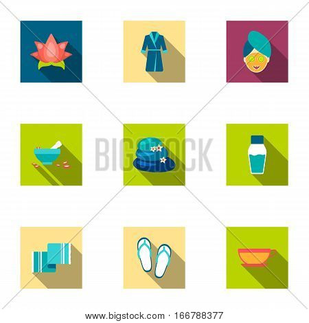 Spa set icons in flat style. Big collection of spa vector symbol stock