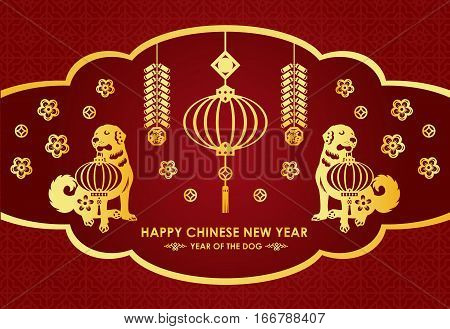 Happy Chinese new year card is lanterns firecracker twin Gold dog and Chinese word mean blessing