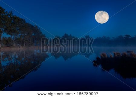Winter Lake At Night Time.