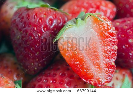 Strawberry fruit with half cross section (Other names are Fragaria strawberry Fragaria ananassa)