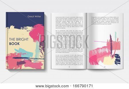 Vector modern book cover and pages, grunge brush art cover, book template, painted design