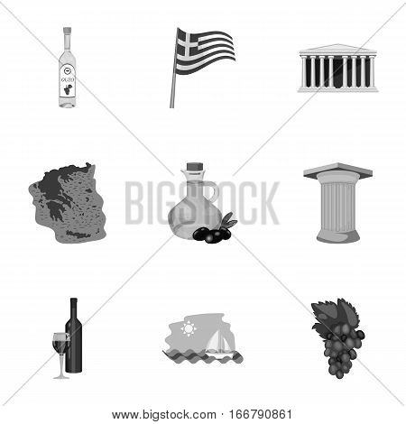 Greece set icons in monochrome design. Big collection of Greece vector symbol stock illustration
