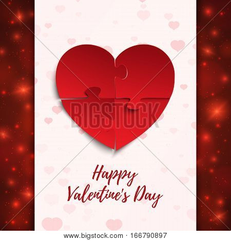 Happy Valentines Day, greeting card template. Jigsaw puzzle pieces in form of red heart, on blurred background with hearts, particles and bokeh. Vector illustration.