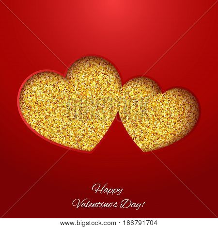 Festive background with heart made of yellow glitters