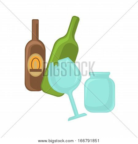 Broken glass, jar and green bottle. Vector illustration of waste categories, garbage recycling and trash sorting. Rubbish icon. Cartoon design element for environment, pollution and ecology.