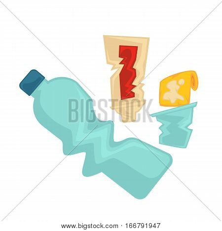 Vector symbol of plastic garbage or trash. Rubbish icon plastic bottle and junk. Illustration of waste recycling and trash sorting. Design element for pollution and ecology isolated on white