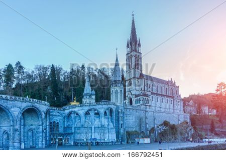 Rosary Basilica in the evening Lourdes Hautes-Pyrenees France