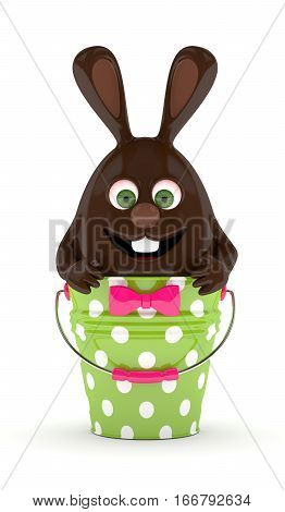 3D Rendering Of Easter Chocolate Bunny Eggsitting In Dotted Pail