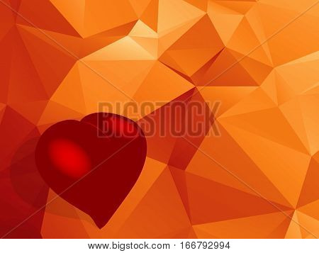 3D Illustration of a Red Love Heart with Shadow on Bottom Left Corner Of Geometric Background