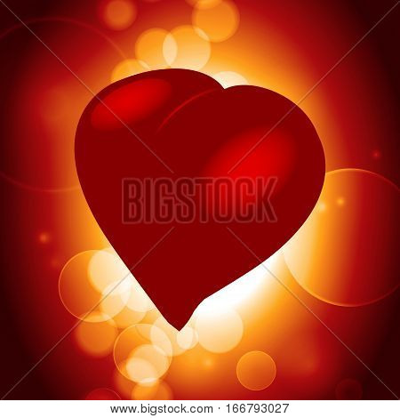 Red Realistic 3D Illustration of Love Heart Over Warm Glowing Background