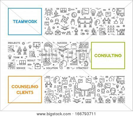 Vector line concept for teamwork consulting and counseling clients. Linear banner for business. Open path.