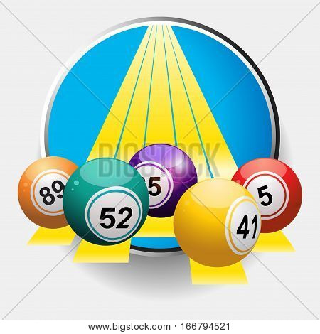 3D Illustration of Bingo Balls Over Yellow Stripes Coming Out From Metallic Border