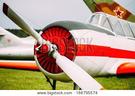 Old Soviet Plane Training Aircraft Airplane Close Up