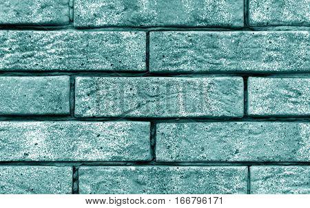 Cyan Color Brick Wall Texture.