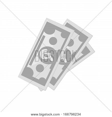 Cash paper money. Symbol of dollars, banking currency, investment, payment or wealth. Vector business finance signs. Icons isolated on white background.