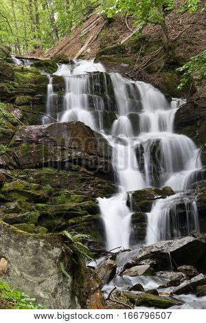 waterfall Guk on the Carpatian mountaince and moss