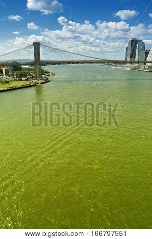 Brooklyn Bridge, New york City, at sunny day.