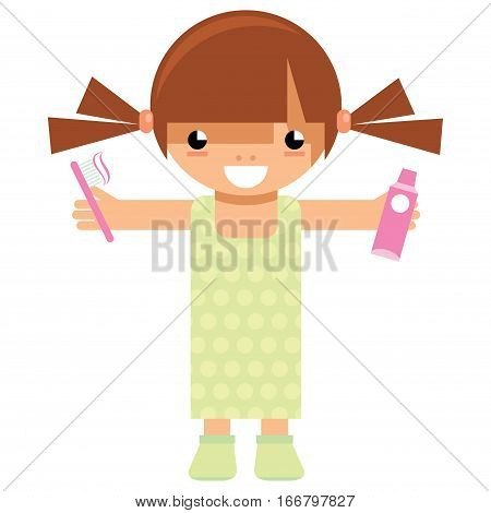 Cartoon vector child preparing to go to sleep and holding on her hands tooth brush and tooth paste ready to wash her teeth