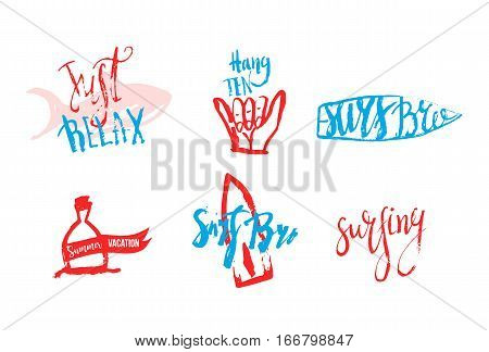 Vector surfing club logos in grunge hand drawn style. Hipster surf symbols with fish, surfboard, shaka.