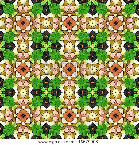 Abstract decorative green and gold multicolor mosaic 3D texture - kaleidoscopic ornamental seamless pattern