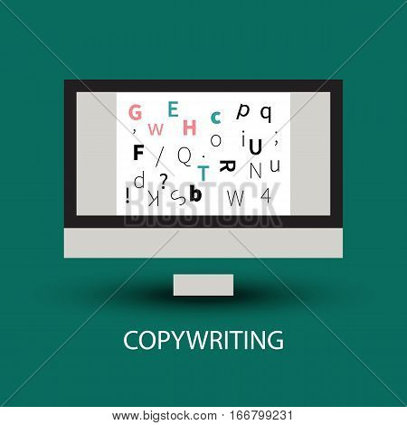 Icon of copywriting. Logo of blogger blogging copywriter. Screen with document and letters isolated. Vector illustration.