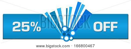 Twenty-five percent off text written over abstract blue background.