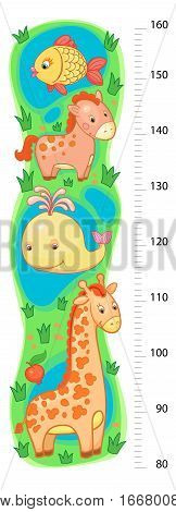 stadiometer wall or height meter from 80 to 160 centimeter with giraffe and whale, horse, fish, sea, lake, vector, illustration